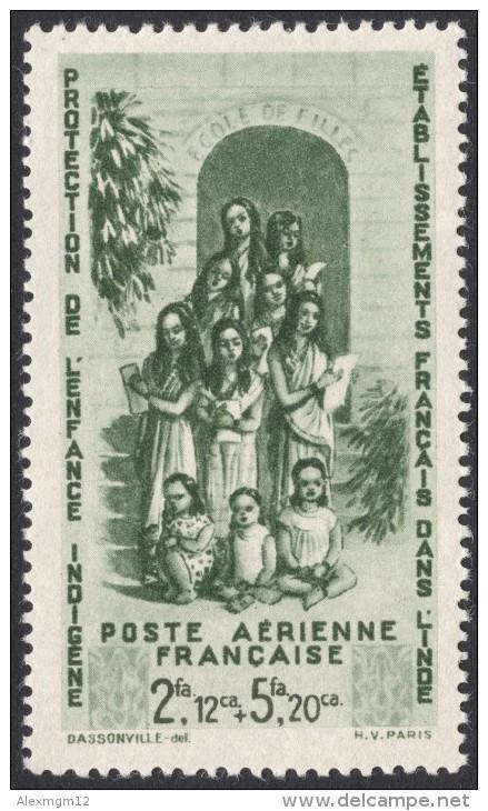 French India, 2 Fa. 12 Ca. + 5 Fa. 20 Ca. 1942, Sc # CB1, MH. - India (1892-1954)