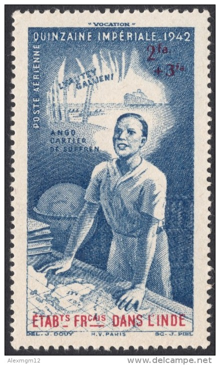 French India, 2 Fa. + 3 Fa. 1942, Sc # CB3, MH. - India (1892-1954)