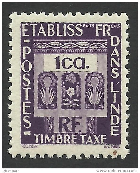 French India, 1 Ca. 1948, Sc # J19, MH - India (1892-1954)