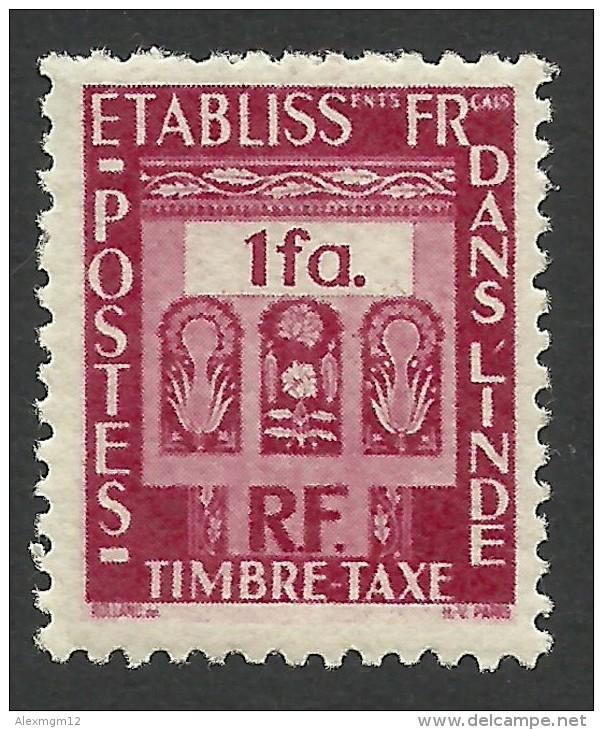 French India, 1 Fa. 1948, Sc # J23, MH - India (1892-1954)