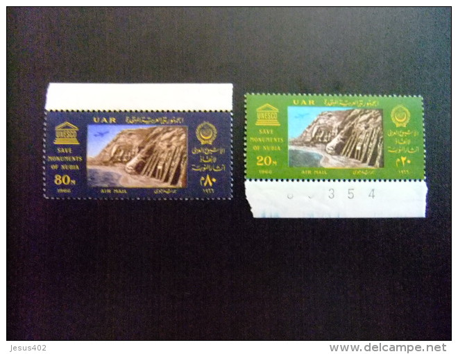 EGIPTO 1966 Yvert  PA 99 / 100 ** MNH - SAVE MONUMENTS OF NUBIA - Poste Aérienne