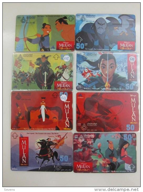 L&Gyr Optical Phonecard,Disney Movie- Mulan,8 Cards, Used - Thaïlande