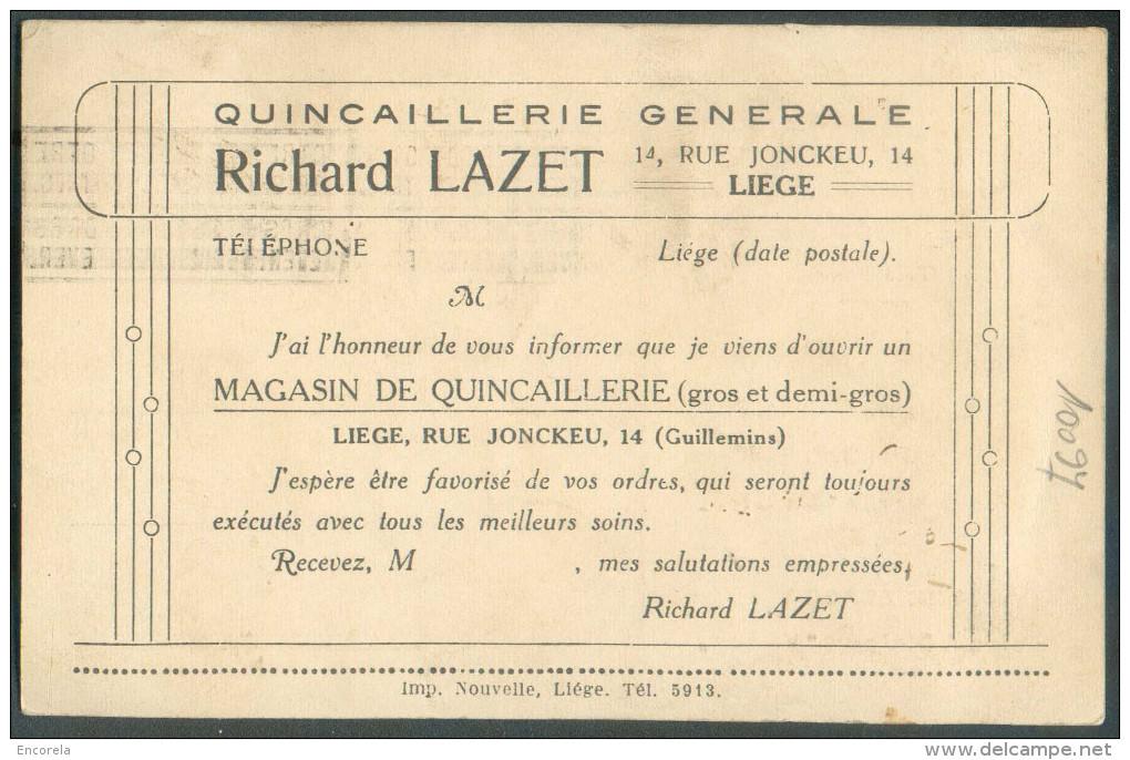 Belgique - 3 Centimes Houyoux Obl. Mécanique LIEGE 1 Sur Carte Ill. (Richard LAZET Quincaillerie Générale Chaine Rivet V - Usines & Industries