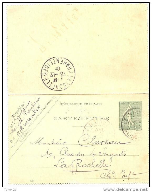 LINT4 - EP CARTE LETTRE SEMEUSE LIGNEE 15c DATE 528 LE RAINCY / LA ROCHELLE DECEMBRE 1905 - Entiers Postaux