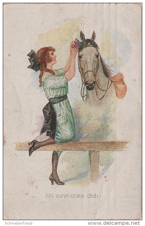 Künstlerkarte AK Ich Schmücke Dich Pferd Chevaux Catharina Klein ? - Künstlerkarten