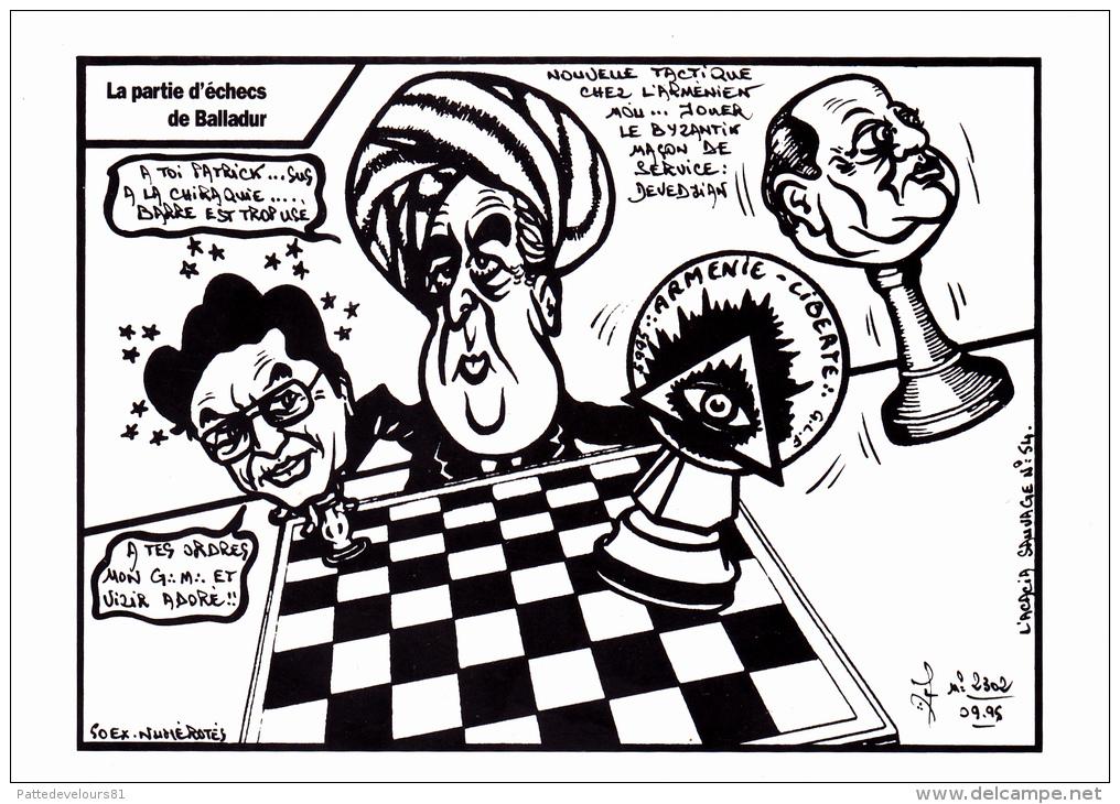 CPSM BALLADUR DEVEDJIAN BARRE Arménien Franc-Maçonnerie  Echecs Chess Caricature Tirage Limité LARDIE - Satiriques
