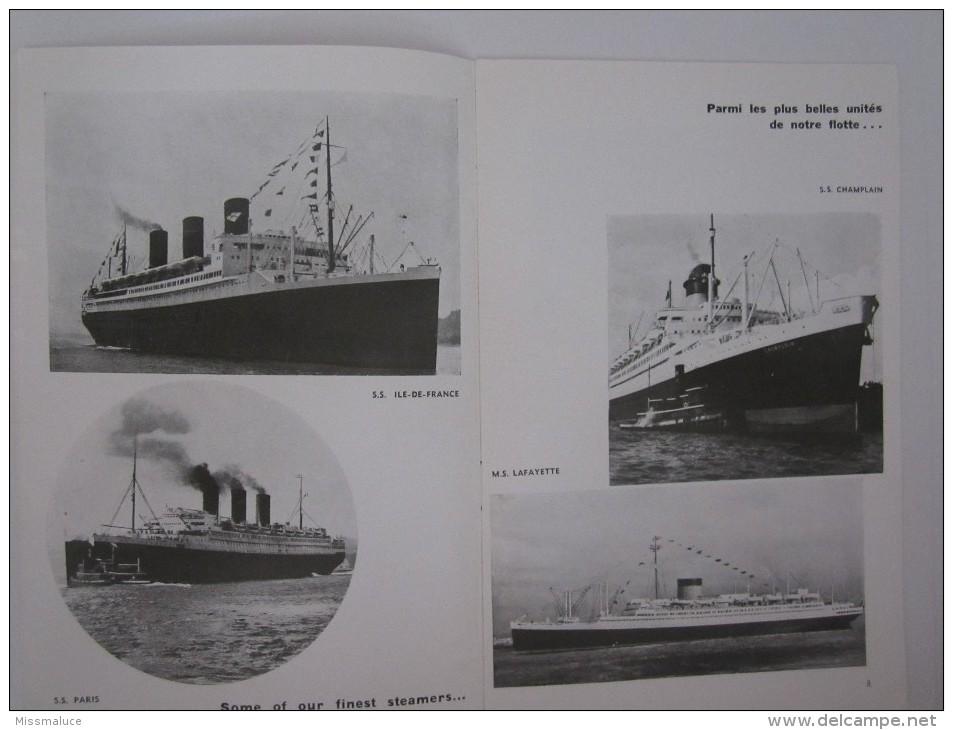 PUBLICITÉ BATEAU PAQUEBOT COMPAGNIE TRANSATLANTIQUE CROISIÈRES 3 EME CLASS LE HAVRE THIRD CLASS TO NEW YORK - Boats