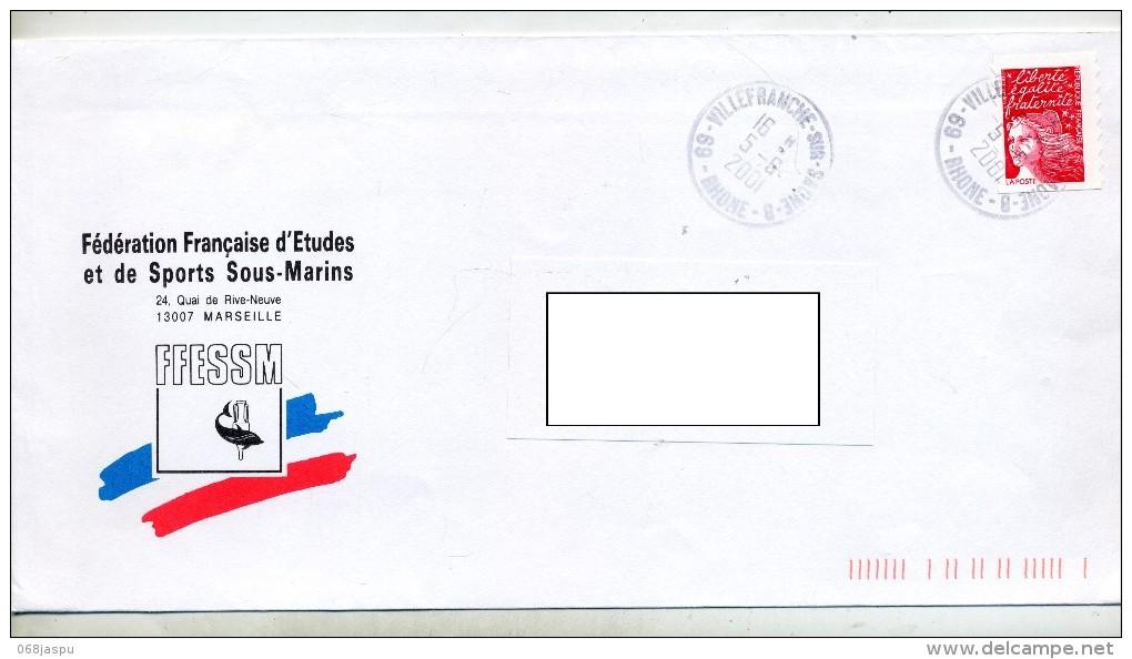 Lettre Cachet Villefranche Entete Federation Sport Sous Marin - Marcophilie (Lettres)
