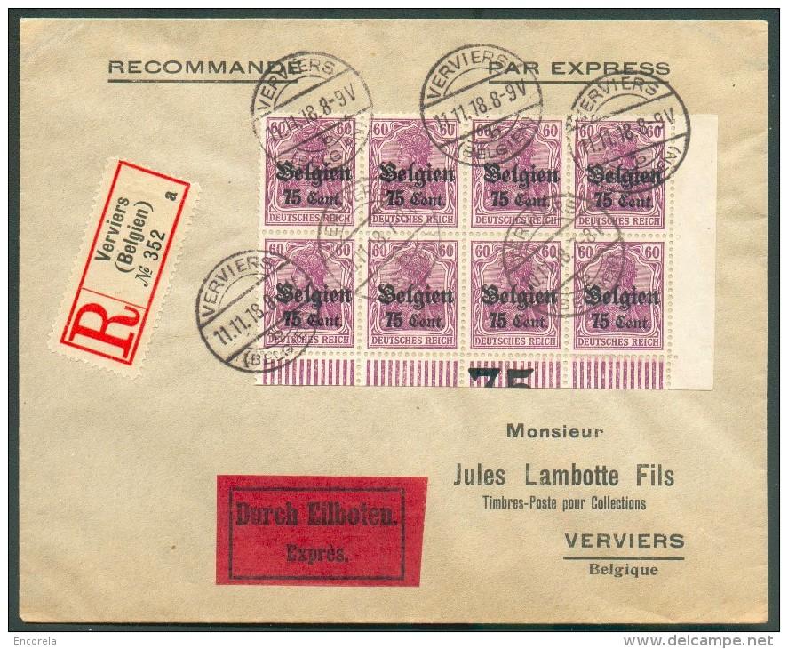 JOUR DE L'ARMISTICE OC N°21(8) - 75 Cent. S/60 Pfg En Bloc De Huit Coin De Feuille Et Inscription Marginale, Obl. - WW I
