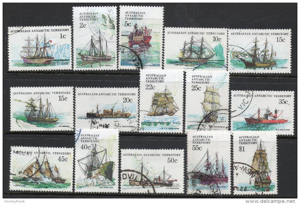 Australian Antarctic Territory 1979-1981 - Ships Less 30c SG37-45 & 47-52 VGU Cat £22.30 SG2015 - See Notes Below - Used Stamps