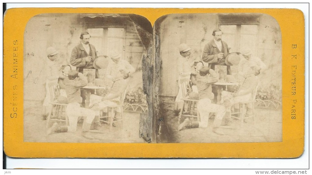 PHOTO STEREOSCOPIQUE Du XIXe Siècle..Scènes Animées.. Chez Le Barbier - Fotos Estereoscópicas