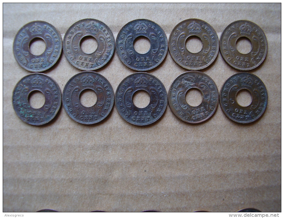 BRITISH EAST AFRICA  KUT ONE CENT COINS BRONZE Of 1952 - TEN All The SAME USED With Mint Mark H. - British Colony
