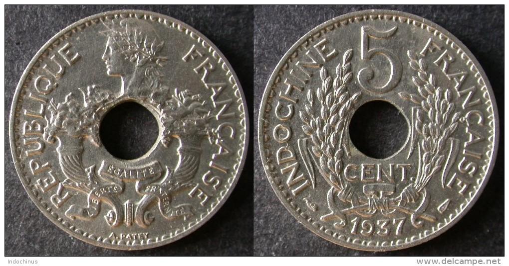 INDOCHINE  5 Cent 1937  INDOCHINA   PORT OFFERT - Viêt-Nam