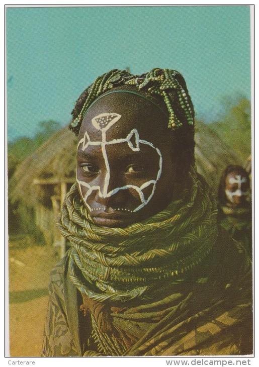 Angola,ex Colonie Portuguaise,Rapariga Muila ,Com Pinturas Do ,cortejo Do Boi Sagrado,africain,peinture Au Visage - Angola