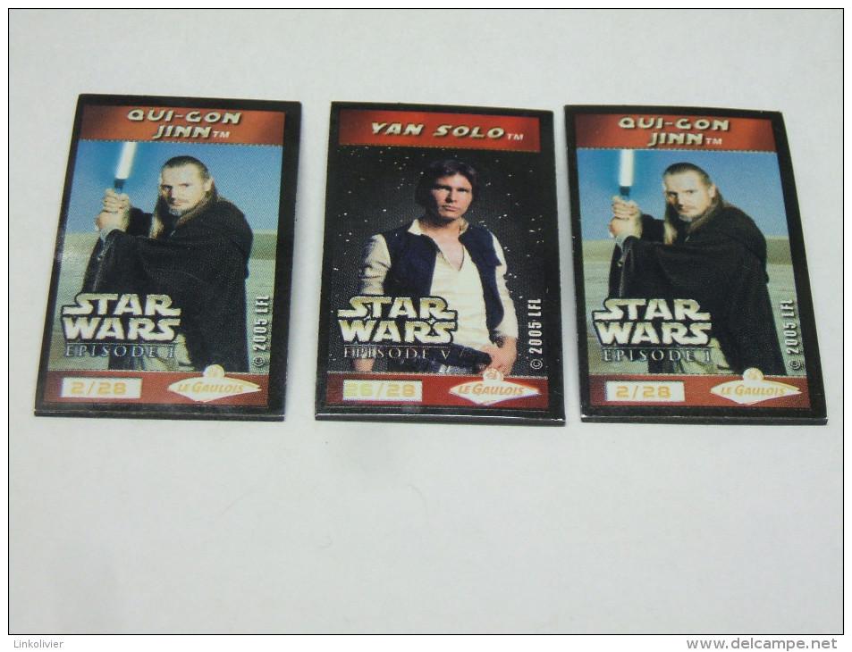 3 MAGNET Magnets STAR WARS LE GAULOIS : Qui Gon Jinn N° 2 Et Yan Solo N° 26 - Magnete