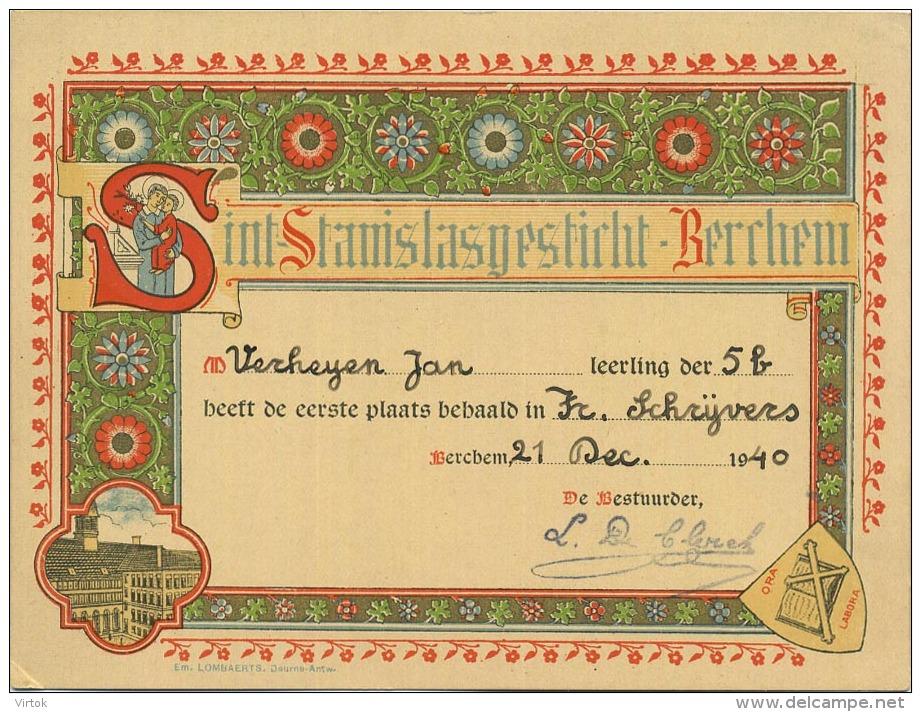 Berchem : Sint-Stanislasgesticht  (  ERE Kaart -  LITHO  1940 ) - Belgique
