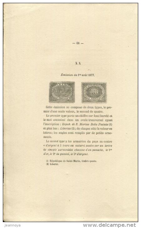 MOENS J. B. - TIMBRES DE TOSCANE - ST. MARIN & EGLISE , 2éme EDIT 112 PAGES DE 1878,, TIRAGE 150 EXEMPLAIRES, SUP  & RRR - Bibliografie