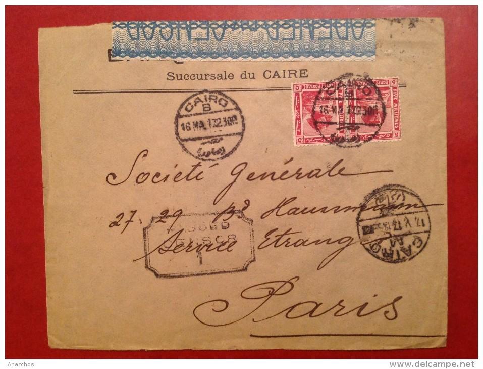 Lettre EGYPTE LE CAIRE Cairo Pour PARIS Avec Censure Censor - Égypte