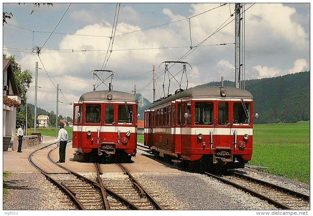 SUISSE LA SAGNE : Croisement De 2 Automotrices  Détails  2ème Scan - Trains