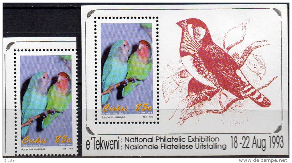 Vögel 1993 Südafrika Ciskei 237+Block 8 ** 18€ Sittich Hoja EXPO Philatelic Bloc WWF M/s Bird Sheets Bf South Africa RSA - Cuckoos & Turacos