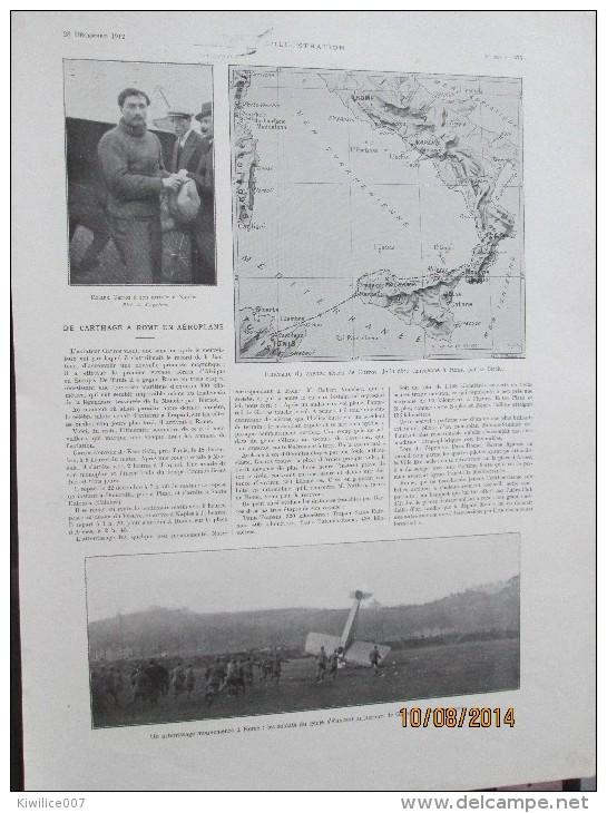 1912 Roland Garros En Aéroplane De Carthage A Rome - Advertising