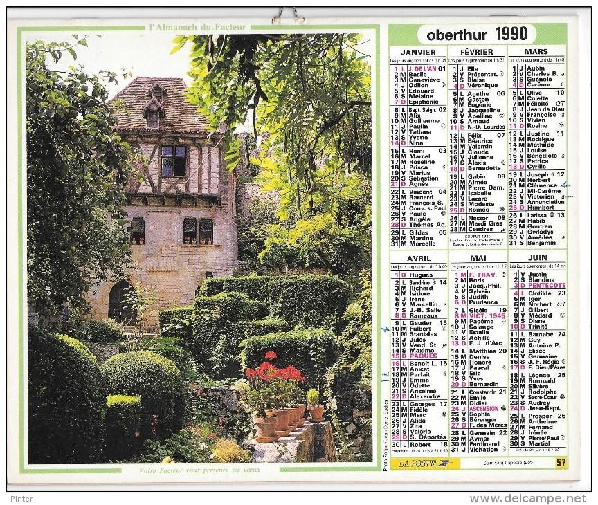 CALENDRIER - ALMANACH DES POSTES ET DES TELEGRAPHES - ANNEE 1990- REGION PARISIENNE - Big : 1981-90