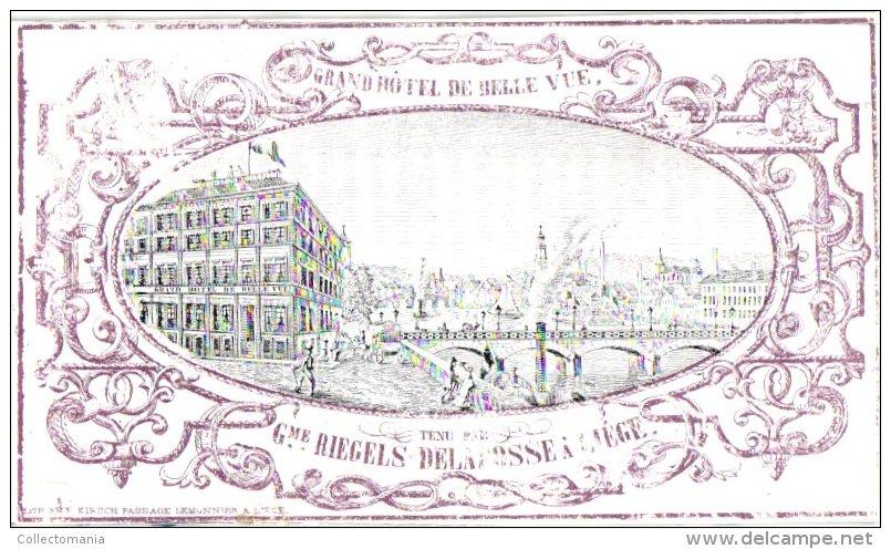 LIEGE   1  Carte Pocelaine  Liège    Grand Hôtel De Belle Vue Tenu Par Riegels Delafosse  Litho Lemonnier - Liege