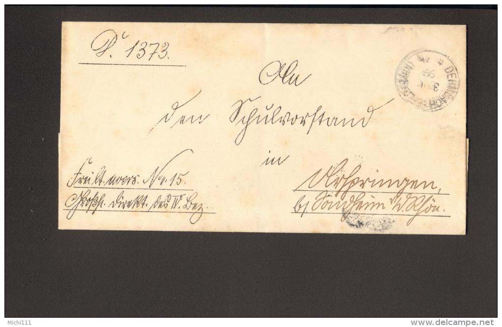 """DR Brief V.1899 Aus Dermbach N.Sondheim M.handschriftl.Vermerk""""frei Lt.Ablösung Nr.15"""" Ankunftstempel Vignette 2 Bilder - Service"""