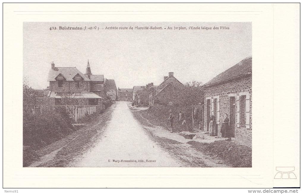 35-BOISTRUDAN-Carte Photo - Arrivée Route De Marcillé-Robert -au 1er Plan, école Laique Des Filles -pas écrite - - Autres Communes
