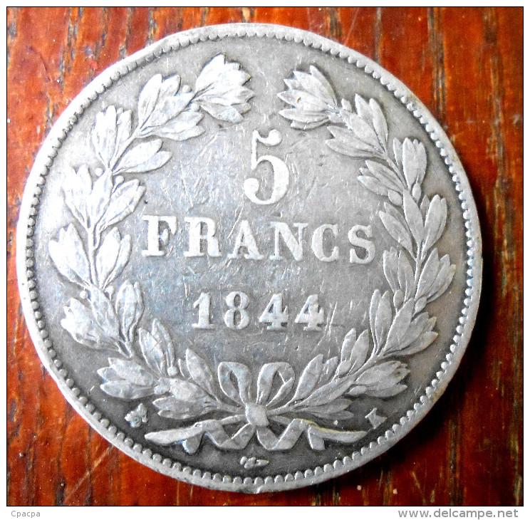 Tres Dur à Trouver  5fr 1844  K    Piece En Argent - J. 5 Franchi