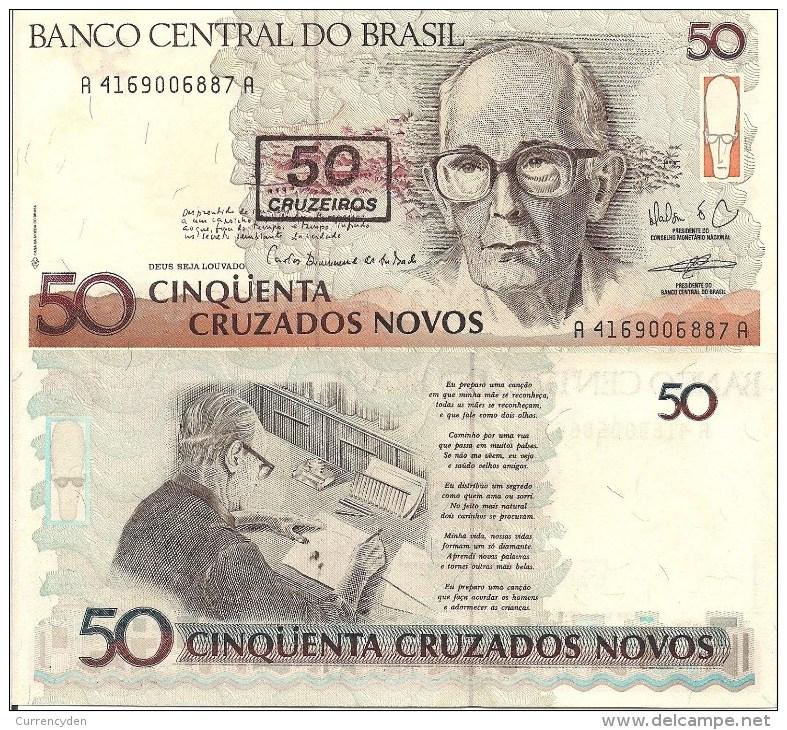 Brazil P223, 50 Cruzeiros, Poet Carlos Andrade - Brazil