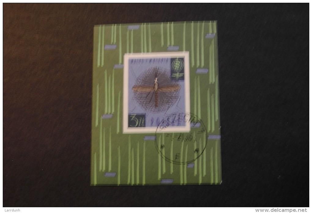 Poland 1090 WHO Anti Malaria Souvenir Sheet Block Cancelled 1962 A04s - Blocks & Sheetlets & Panes