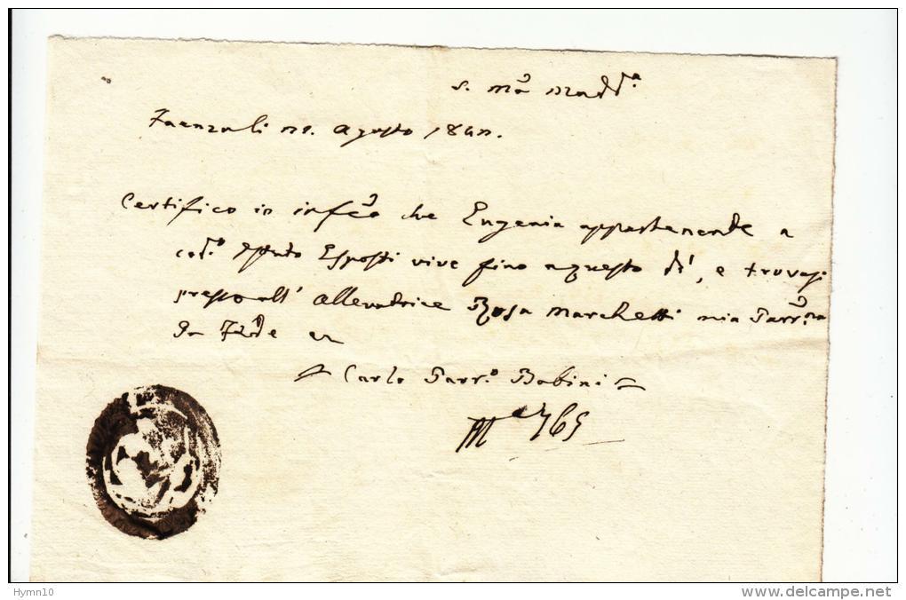 DE371-1840 STATO CHIESA Certificato Di Esistenza Della PARROCCHIA S.MARIA MADDALENA In BORGO-FAENZA-timbro PARROCCHIA - Historische Dokumente