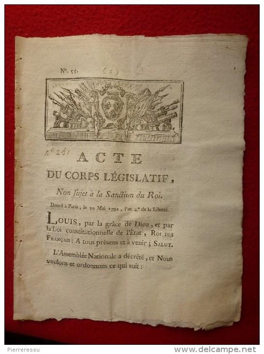 ACTE DU CORPS LEGISLATIF 1792 ETIENNE LARIVIERE JUGE DE PAIX A PARIS - Décrets & Lois