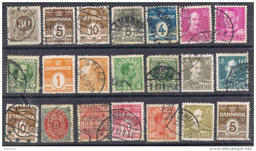 Pequeño Lote 21 Sellos DINAMARCA 1900-1950 º - Lotes & Colecciones