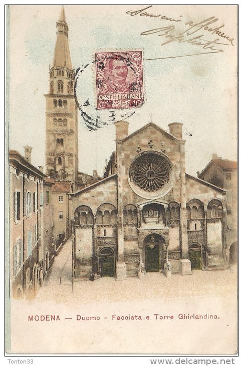 MODENA - ITALIE - CPA DOS SIMPLE COLORISEE - DUOMO - Facciata E Torre Ghirlandina - 160814 - - Modena