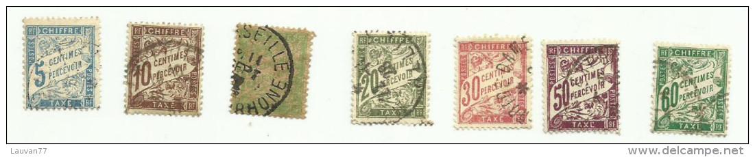 France  Taxe N°28 à 31, 33, 37, 38 Cote 4.80 Euros - 1859-1955 Used