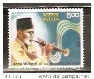 India 2008 Ustad Bismillah Khan Sahnai Player Music Musician Instrument MNH Inde Indien - Musique