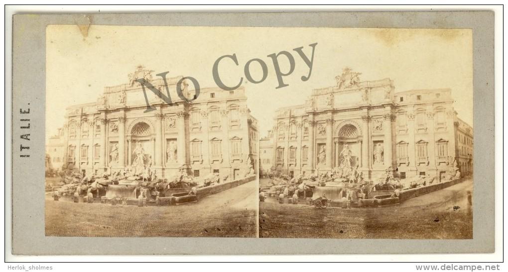 Photo Stéréo Albuminé, Italie, Rome, Fontaine De Trévi, Circa 1880 Roma. ST21 - Stereoscopic