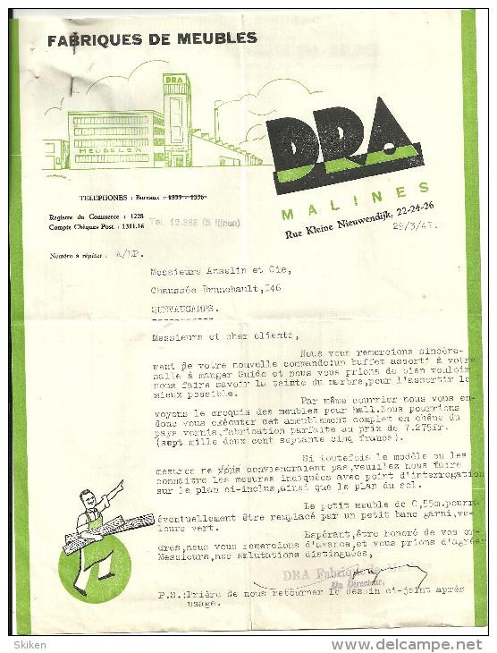 MALINES  DRA  Fabriques De Meubles    29.03.1941 - Belgique