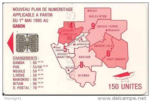 TC-PUCE-GABON--SC7-150U -SCHLUM-ROUGE-REGIONS-V°N° Rouge C35141526-TB E - Gabon