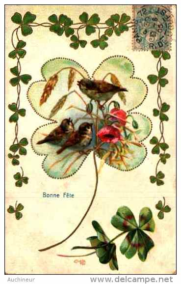 Fleur Trèfle 23 - Oiseaux Coquelicot, Gaufrée Embossed - Fiori, Piante & Alberi