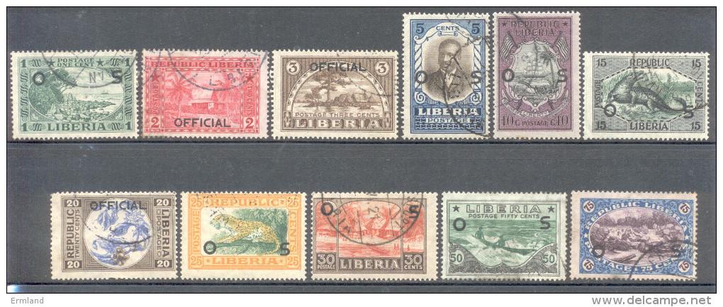 Liberia 1920 - Michel Nr. Dienst 107 - 117 O - Liberia