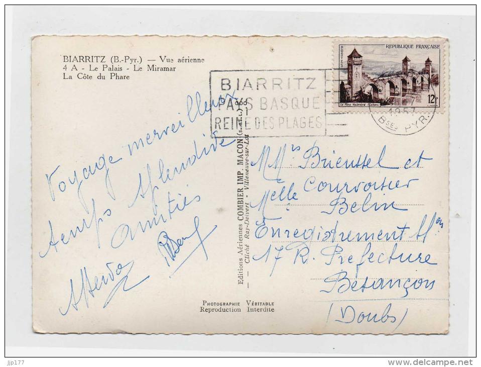Biarritz Vue Aerienne Ecrite En 1957 Le Palais Le Miramar La Cote Du Phare - Biarritz