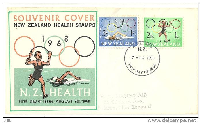 NOUVELLE-ZELANDE.  Jeux Olympiques De Mexico, Lettre FDC Adressée à Rotorua. - Sommer 1968: Mexico