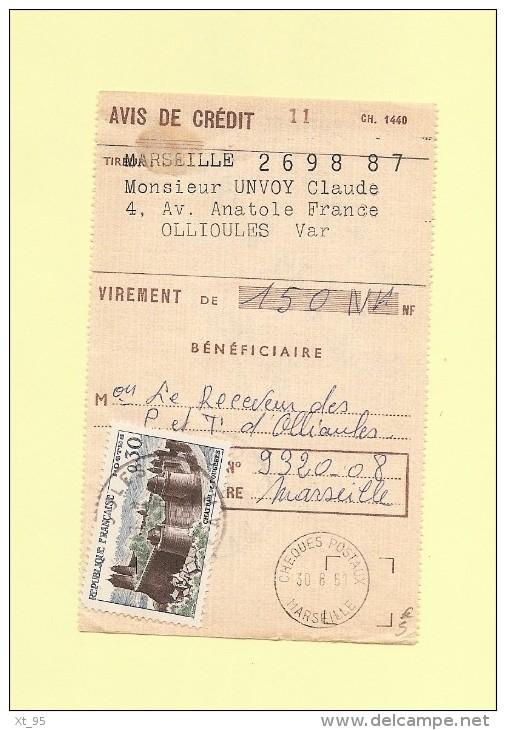 0.30 Chateau De Fougeres Sur Avis De Credit - Ollioules Var - 29-8-1961 - Marcophilie (Lettres)