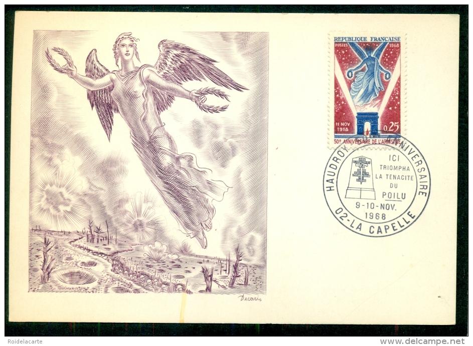 CM-Carte Maximum Card #1968-France # Histoire # 50° Anniversaire De L´Armistice (Burin Original De Decaris ) #La C - Maximumkaarten