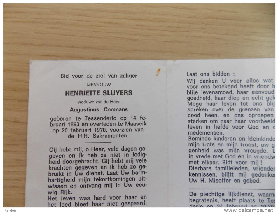 Doodsprentje Henriette Sluyters Tessenderlo 14/2/1893 Maaseik 20/2/1970 ( Auustinus Coomans ) - Religión & Esoterismo
