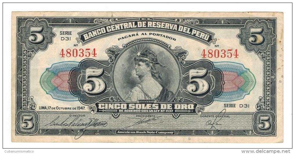 Peru, 5 Soles, 1947, VF/XF, Crisp Note. - Perú
