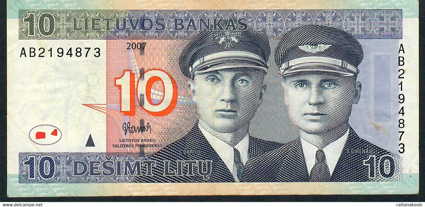 LITUANIA  P68  10  LITU   2007    VF - Lituanie